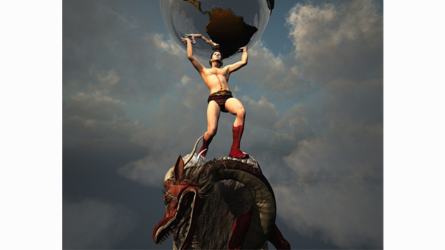 man holding up the world while standing on a a dragon