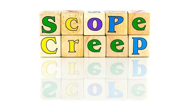 scope creep spelled in letter blocks