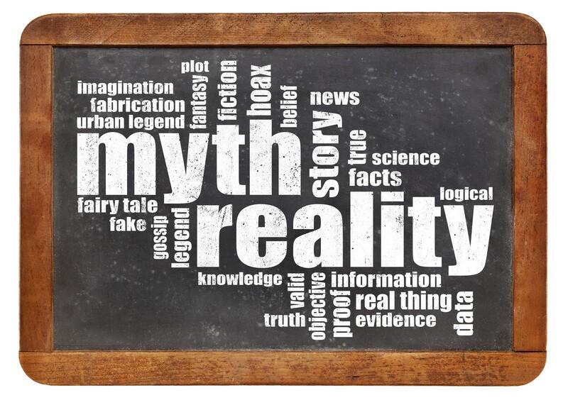 myth vs reality word cloud